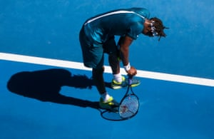Gael Monfils looking exhausted by the heat.