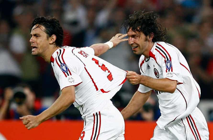 Filippo Inzaghi celebrates after scoring in the Champions League final in 2005.