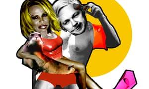 Illustration for Lost in Showbiz: Pamela Anderson and Julian Assange