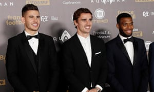 Antoine Griezmann alongside Atlético Madrid and France team-mates Lucas Hernández and Thomas Lemar.