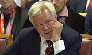 David Davis giving evidence to the Lords EU committee about Brexit.