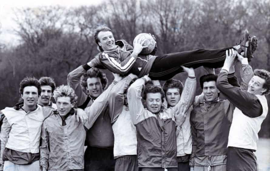 Dave Bassett with the his Wimbledon players in February 1985.