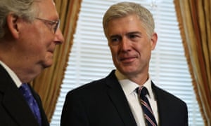 Judge Neil Gorsuch meets Mitch McConnell, the Senate majority leader. Gorsuch does not have a clear record as a gun rights supporter.