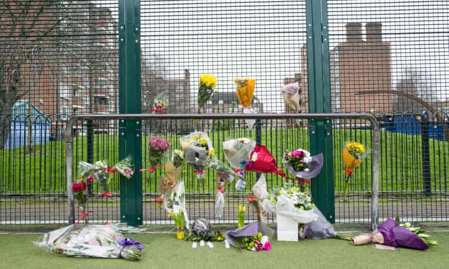 A floral tribute to knife victim Abdikarim Hassan on the Peckwater Estate in the London Borough of Camden.