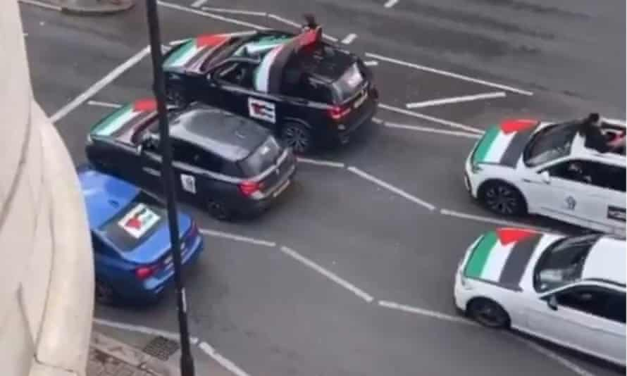 A still from the video which appeared to show antisemitic abuse being shouted from a car.