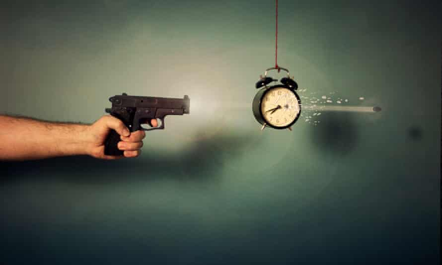 Gun and slow-motion bullet