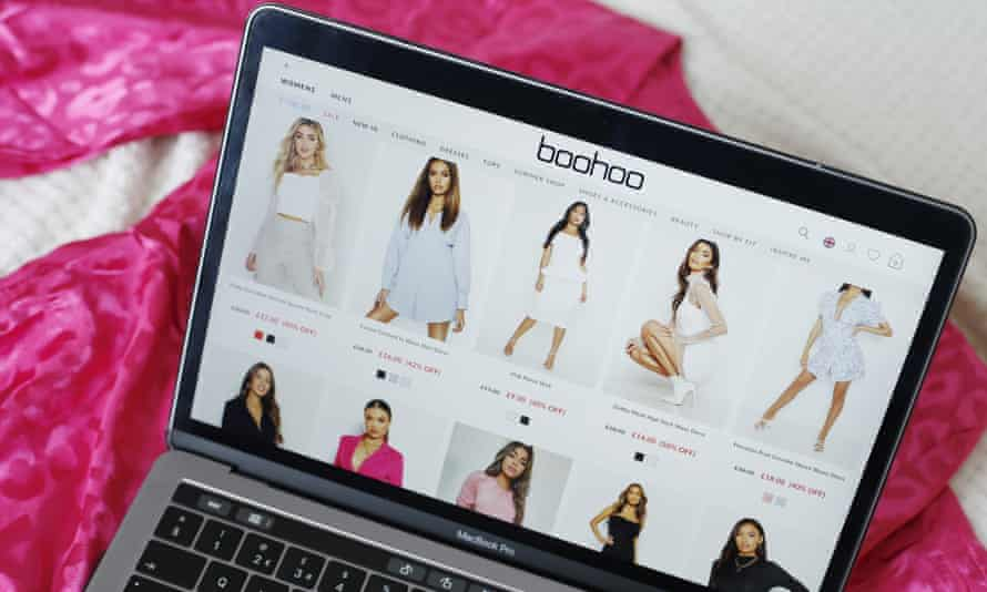 Boohoo website on a laptop