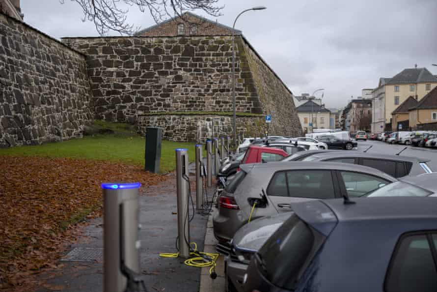 EV charging stations at Kongens Gate near Akershus Festning in Oslo.