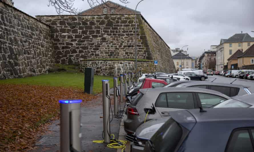 Electric cars at charging stations in central Oslo.