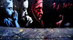 Prayers for peace and solace bridge religious divides. This mural highlights unity among all faiths in spite of the attacks carried out by Isis.