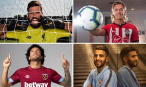 Clockwise from top left: Liverpool's new goalkeeper Alisson, Southampton defender Jannik Vestergaard, Manchester City arrival Riyad Mahrez, and West Ham signing Felipe Anderson.