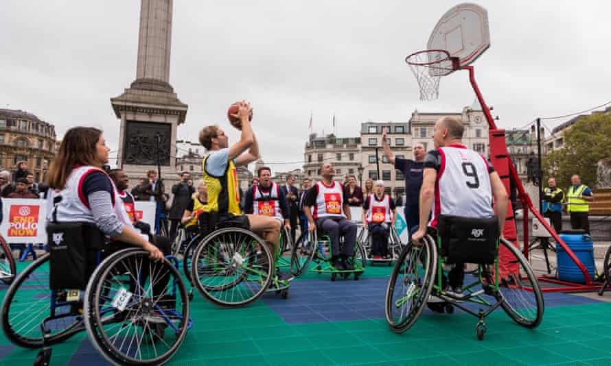 London, UK. 24th October, 2017. Conservative MP Tobias Ellwood takes a penalty shot in a Wheelchair Basketball game to mark World Polio Day.