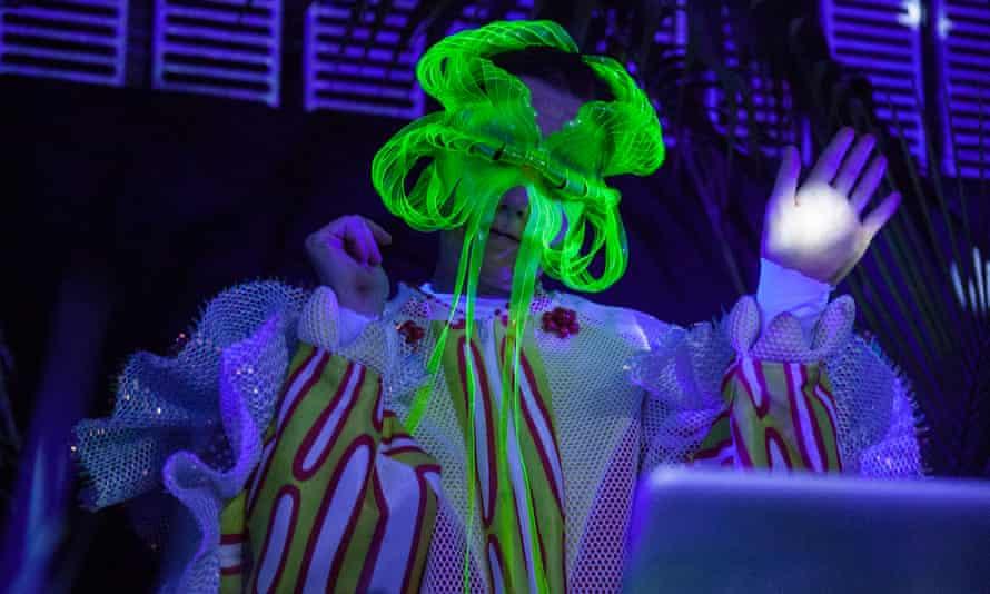 Performing a DJ set at Björk Digital in Tokyo