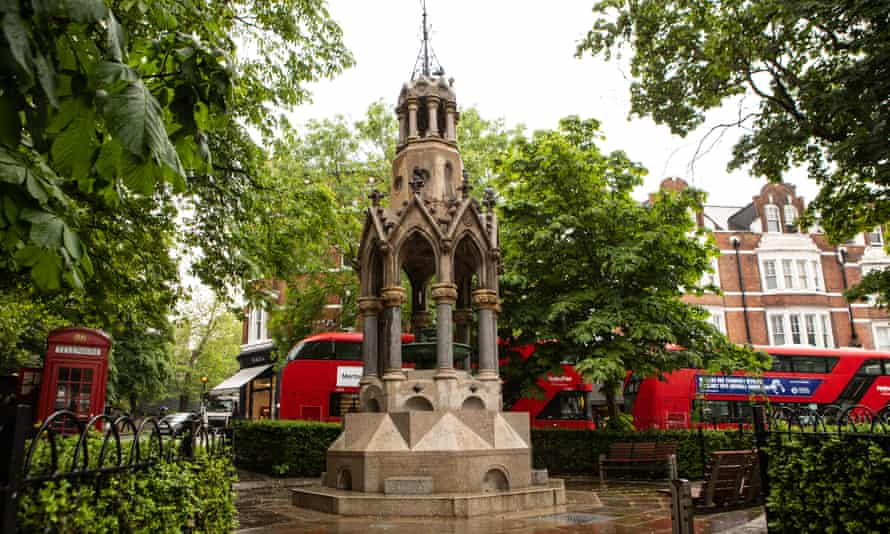 A tall, ornate and impressive Victorian water fountain on Southend Green, Hampstead, London