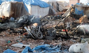 Burnt tents at Syria refugee camp