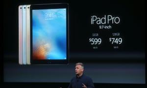 Apple senior vice president of worldwide marketing Phil Schiller announces the new 9.7in iPad pro.