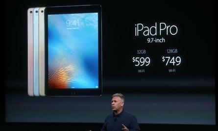 Apple senior vice president of worldwide marketing Phil Schiller announces the new 9.7in iPad pro.