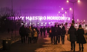 Fans arrive for a concert by Maestro Morricone at the Tauron Arena in Kraków, Poland on 6 February 2017