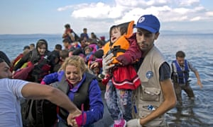 Refugees on the island of Lesbos. UN human rights commissioner Zeid Ra'ad Al Hussein of Jordan criticised the use of dehumanising language in response to the crisis.