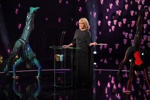 Joanna Lumley and performers fron Cirque de Soleil