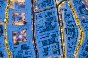 Budapest, Hungary: Buildings in the castle district are covered by snow