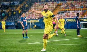 Raul Albiol of Villarreal celebrates after scoring his team's second goal.