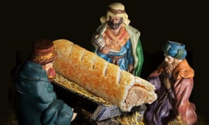 Gold, frankincense and … pastry: the three wise men visit Greggs' representation of the baby Jesus.