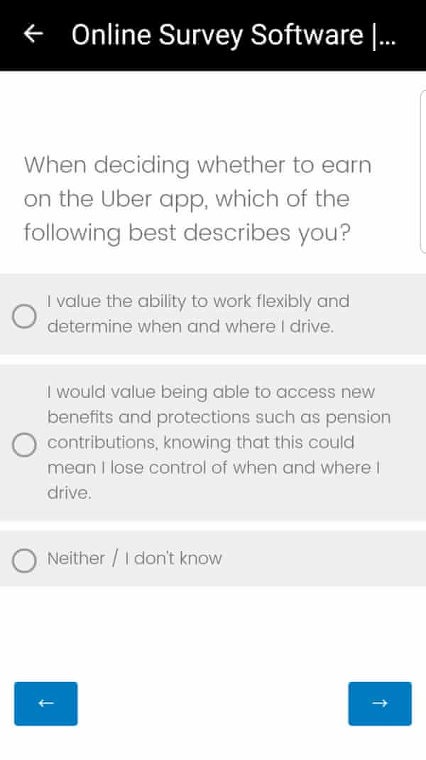 How Uber drivers were presented with questions on their phones