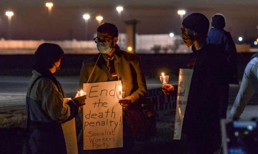 A protest against the execution of Brandon Bernard, who was put to death by lethal injection in Indiana Thursday.