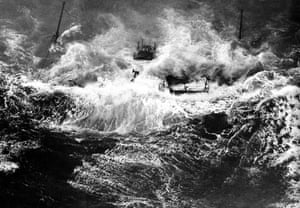 The South Goodwin Lightship is swamped during a massive storm in November 1954