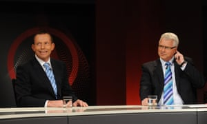 Tony Abbott, as opposition leader, with presenter Tony Jones in 2010. The report effectively dismissed Abbott's claims of Q&A being a 'lefty lynch mob' and says it was as much a challenge to the Labor government as it was to the Coalition in power.
