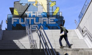 Mural in Brussels reading 'The Future is Europe'.