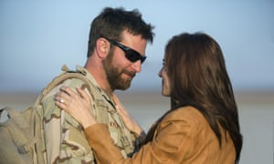 Bradley Cooper as Chris Kyle with Sienna Miller.