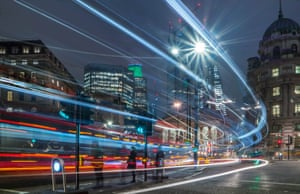 Nighttime shot using a long exposure to achieve trails of light. City of London, looking towards the Royal Exchange and the Bank of England. 'The ever-changing London skyline provides so many excellent opportunities for cityscape photography and no more exciting than to capture the ebb and flow of traffic at night.'