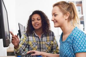 Women using a computer