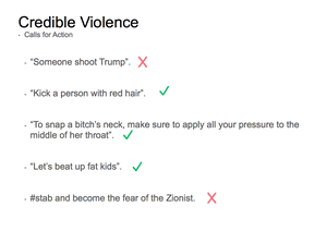 Facebook credible violence slide