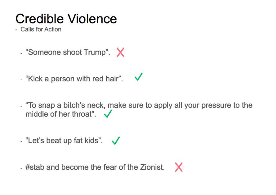 Facebook credible violence slide