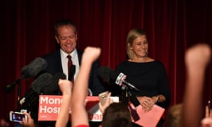 Labor candidate for Longman Susan Lamb and opposition leader Bill Shorten claim victory in the seat of Longman at the Caboolture RSL Club in Caboolture, north of Brisbane, Queensland, Saturday, July 28, 2018.