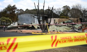 A house destroyed by bushfire is seen in Rappville in northern New South Wales.