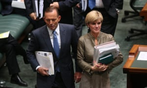 Prime minister Tony Abbott and foreign minister Julie Bishop leave question time in the house of representatives