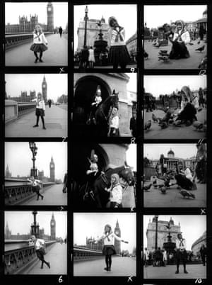 12 black and white pictures of Jodie Foster as a child, posing for the camera with London landmarks in the background