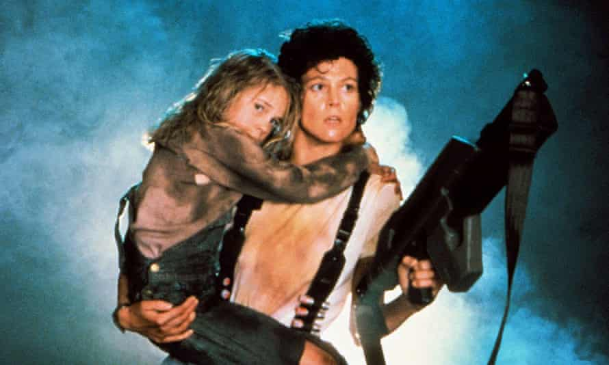 Sigourney Weaver as Ellen Ripley and Carrie Henn as Newt in 1986's Aliens.