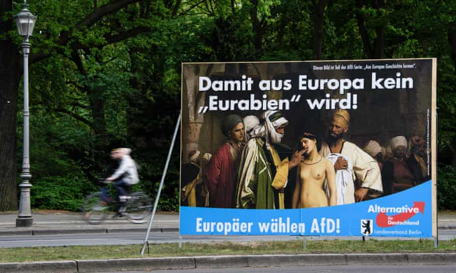 A poster for the Alternative für Deutschland party showing 'The Slave Market' by Jean-Leon Gerome. It reads 'For Europe will not become 'Eurabia'!'