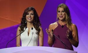 Jenny Taft (R) and Adriana Monsalve host the draw.