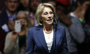 Betsy DeVos, selected for education secretary by Donald Trump, speaks during a rally in Grand Rapids, Michigan.