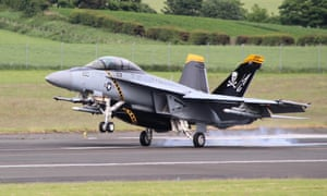 A US Navy fighter jet arrives at Glasgow Prestwick Airport in Ayrshire.