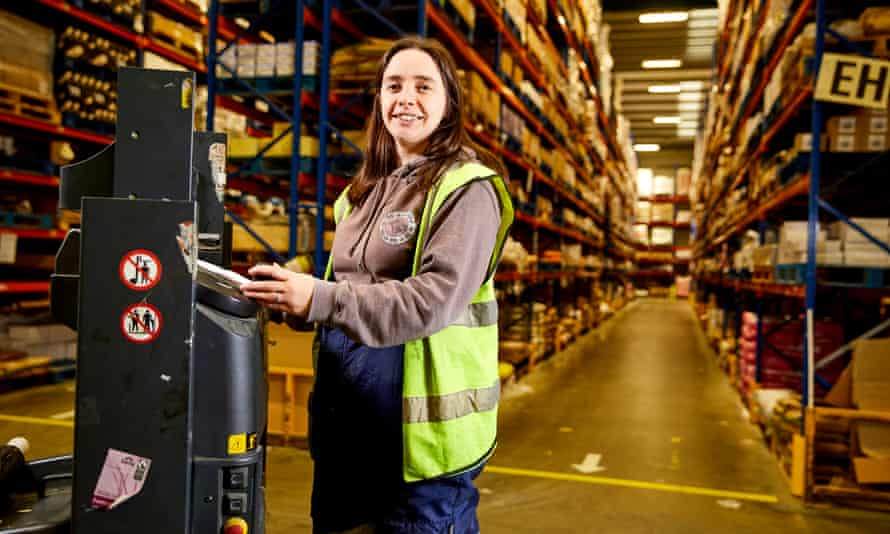 Jenny Carlyle, an employee at Suma, working in the co-operative's warehouse
