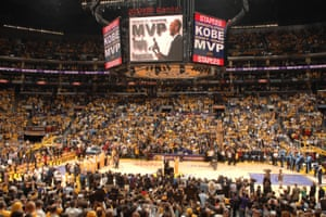 Bryant is presented with the 2007-08 NBA Most Valuable Player award.