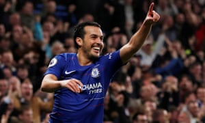 Chelsea's Pedro celebrates scoring their opener.