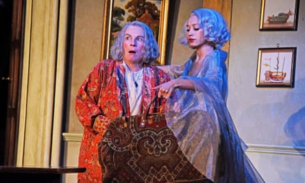 Jennifer Saunders as Madame Arcati and Emma Naomi as Elvira in Blithe Spirit, directed by Richard Eyre.